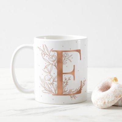 Letter E Rose Gold Monogram Botanical Illustration Coffee Mug