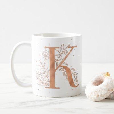 Letter K Rose Gold Monogram Botanical Illustration Coffee Mug