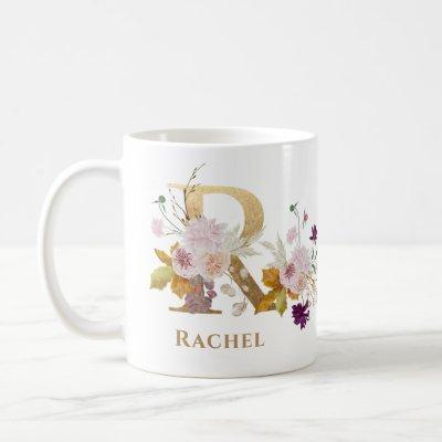 Letter R - Gold Floral Name sister coworker friend Coffee Mug