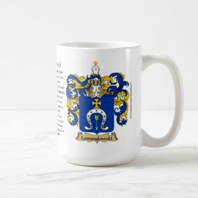 Lewandowski, the Origin, the Meaning and the Crest Coffee Mug