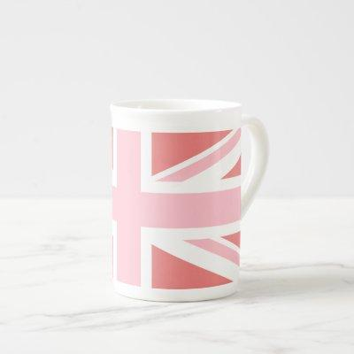 Light Coral and Pink Union Jack Bone China Mug
