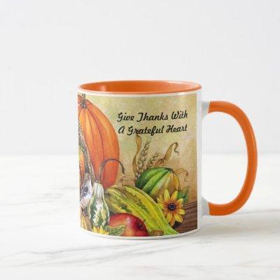 Little Thanksgiving Bird Harvest Mug Cup Orange
