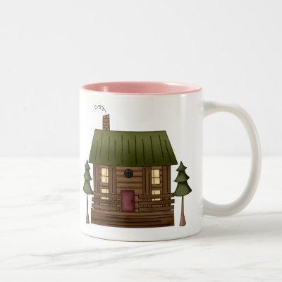 Log Cabin Home Two-Tone Coffee Mug