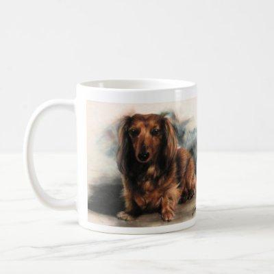 Long Haired Dachshund dog Coffee Mug