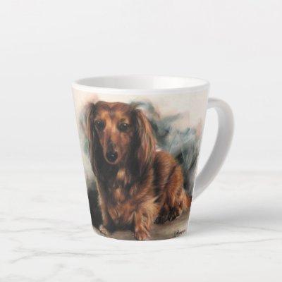 Long Haired Dachshund dog Latte Mug