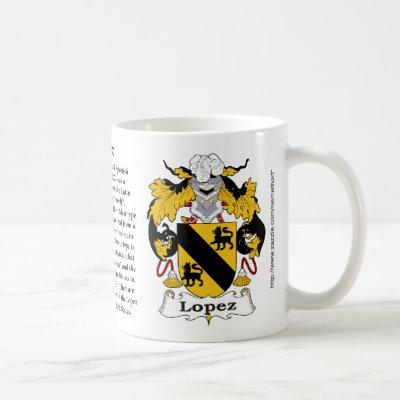 Lopez, the origin, the meaning and the crest coffee mug