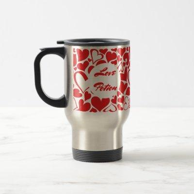 Love Potion red passion heart pattern Travel Mug
