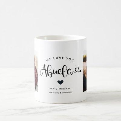 Love you Abuela Hearts Custom Two Photo Coffee Mug