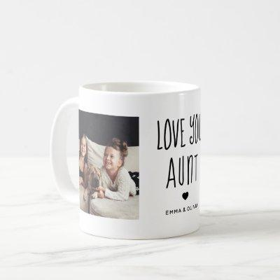 Love You Aunt | Two Photo Handwritten Text Coffee Mug