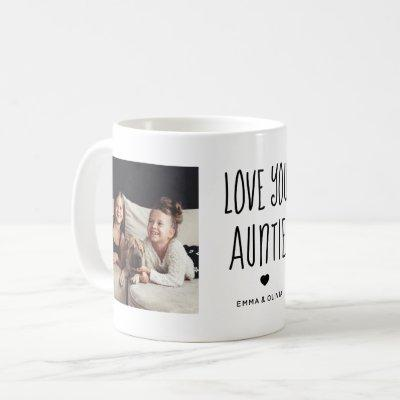 Love You Auntie | Two Photo Handwritten Text Coffee Mug