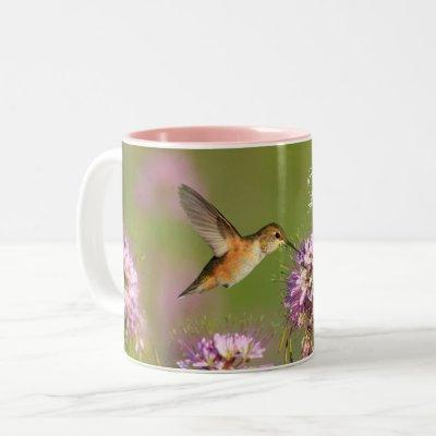 Love You Custom Hummingbird Floral Two-Tone Coffee Mug