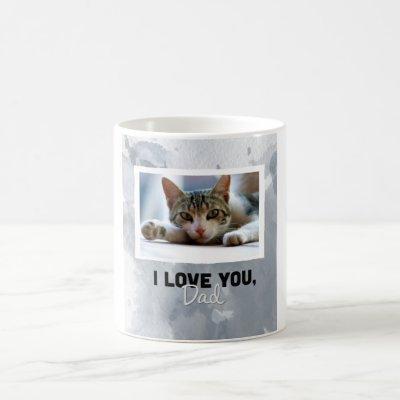 Love You Dad Custom Gray Cat Photo Mug
