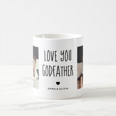 Love You Godfather | Two Photo Handwritten Text Coffee Mug