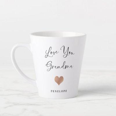 Love You Grandma   Handwritten Script and Heart Latte Mug