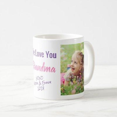 Love You Grandma Photo Names Purple Pink Coffee Mug