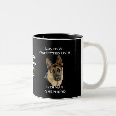 Loved & Protected By A German Shepherd Two-Tone Coffee Mug
