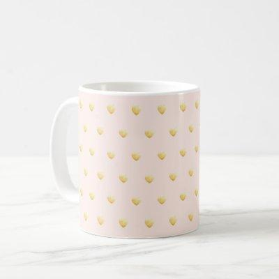 Lovely Faux Gold Hearts on Pale Blush Coffee Mug