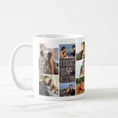 Loving Life With You 14 Photo Collage Wood Panel Coffee Mug