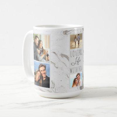 Loving Life With You - 7 Photo Collage Grey Marble Coffee Mug