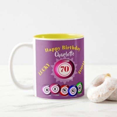 Lucky Number Bingo Themed Birthday Two-Tone Coffee Two-Tone Coffee Mug