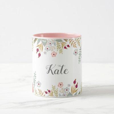 Luscious Floral Personalized Name Two Tone Coffee Mug
