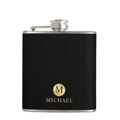 Luxury Black and Gold Personalized Monogram Flask