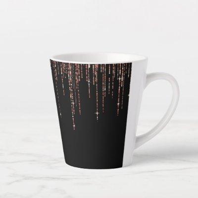 Luxury Black Rose Gold Sparkly Glitter Fringe Latte Mug