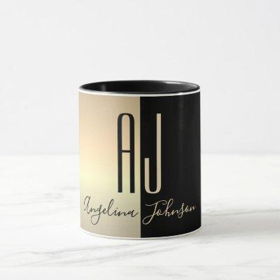 Luxury Minimal Gold Foil and Black Giant Initials Mug