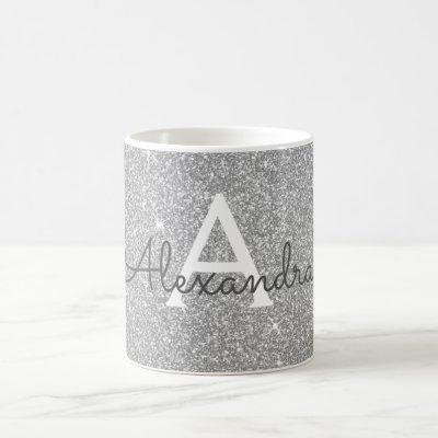 Luxury Silver Sparkle Glitter Monogram Name Coffee Mug