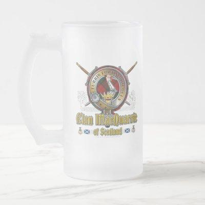 MacQuarrie Clan Badge Frosted Glass Beer Mug