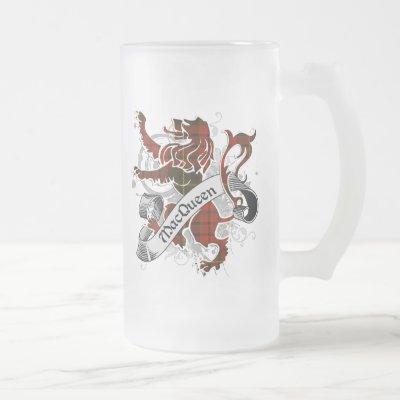 MacQueen Tartan Lion Frosted Glass Beer Mug
