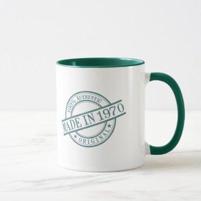 Made in 1970 Birth Year Green Round Rubber Stamp Mug
