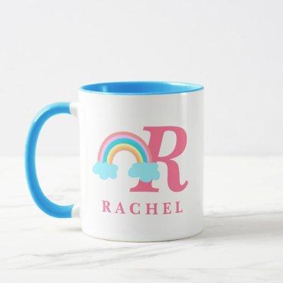Magical Colorful Rainbow Monogram Initial Name Mug
