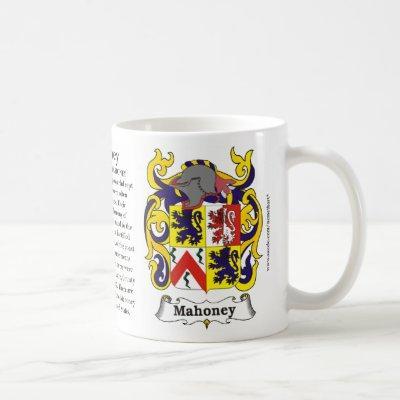 Mahoney, Origin, Meaning and the Crest Coffee Mug
