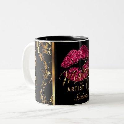 Makeup Artist Dark Pink Glitter Lips & Gold Marble Two-Tone Coffee Mug