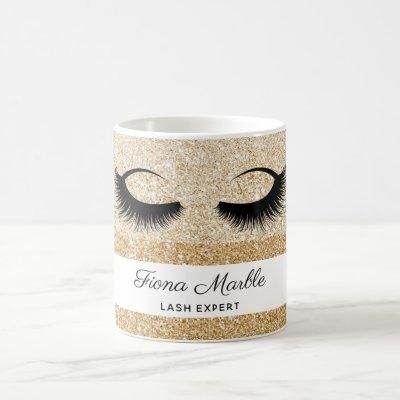 Makeup artist lash extension eyes gold glitter coffee mug