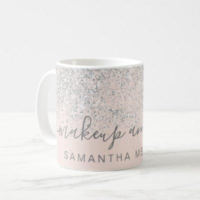 Makeup hair silver glitter pastel blush pink name coffee mug