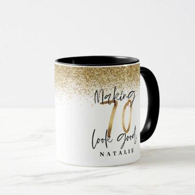 Making 70 look good gold glitter birthday favor mug