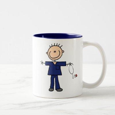 Male Stick Figure Nurse - Blue Two-Tone Coffee Mug