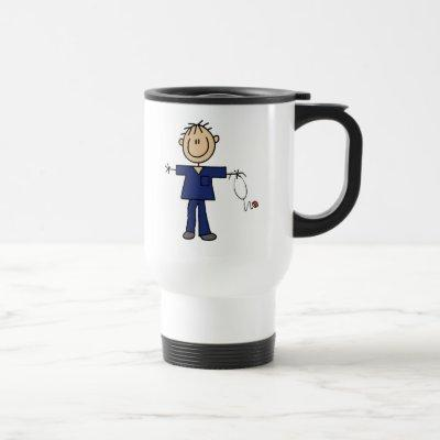Male Stick Figure Nurse Medium Skin Travel Mug