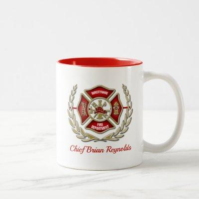 Maltese Cross Personalized Firefighter Two-Tone Coffee Mug