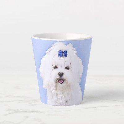 Maltese Painting - Cute Original Dog Art Latte Mug