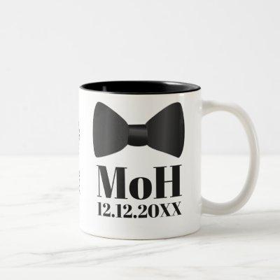 Man of Honor Tuxedo Wedding Bow Tie Monogram Two-Tone Coffee Mug
