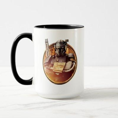 Mandalorian with Weapons Golden Badge Mug