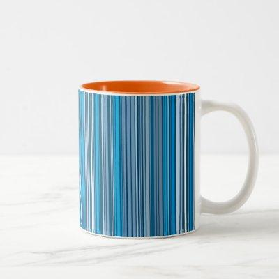 Many multi colored stripes in the blue Two-Tone coffee mug