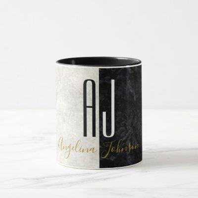 Marble Black and White Minimalist Modern Initials Mug