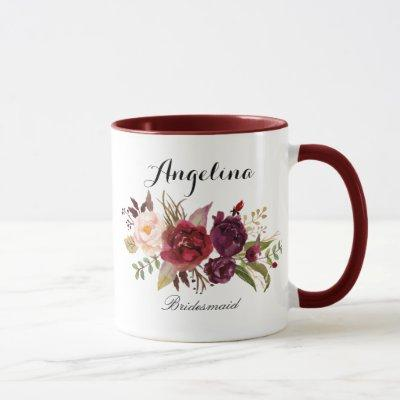 Marsala burgundy Floral bridesmaid Mug