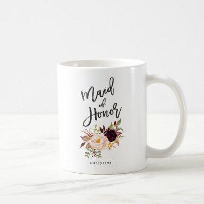 Marsala burgundy Floral maid of honor Coffee Mug