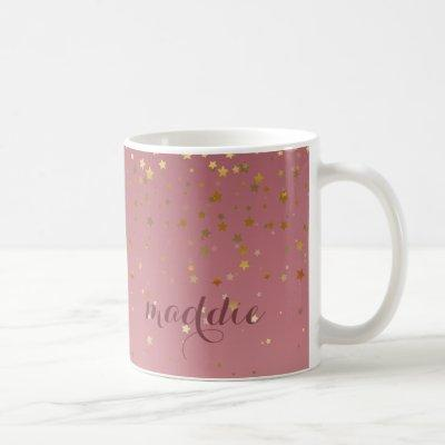 Marsala Rose Gold Stars Ombre Fade Coffee Mug