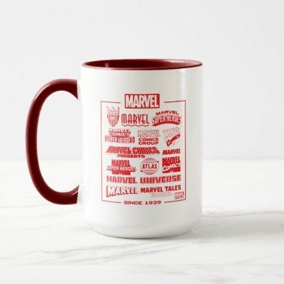 Marvel Branding Logos Since 1939 Mug